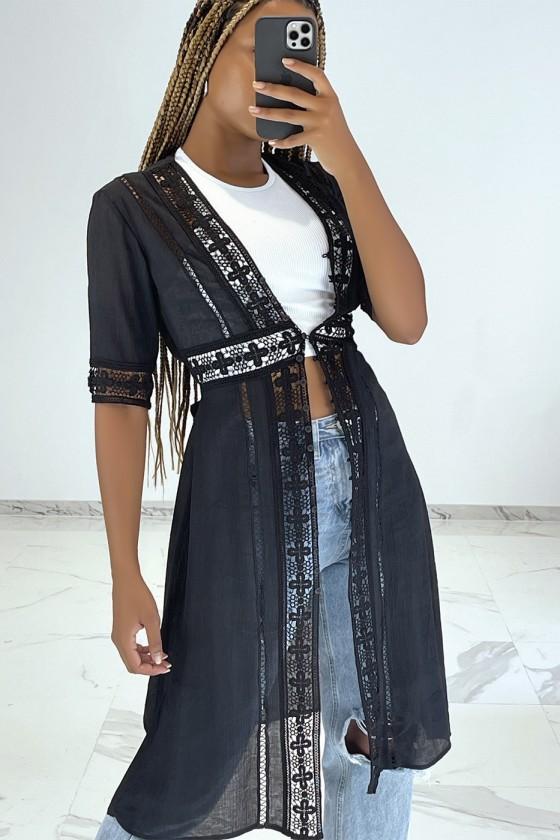 Kimono d'été léger fluide noir avec détails broderie