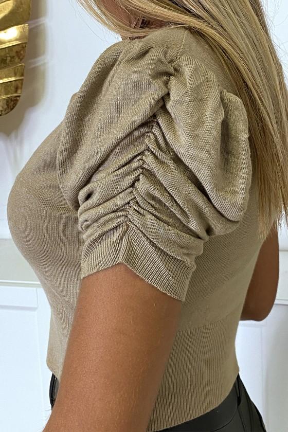 Mini gilet beige manche courte et froncée