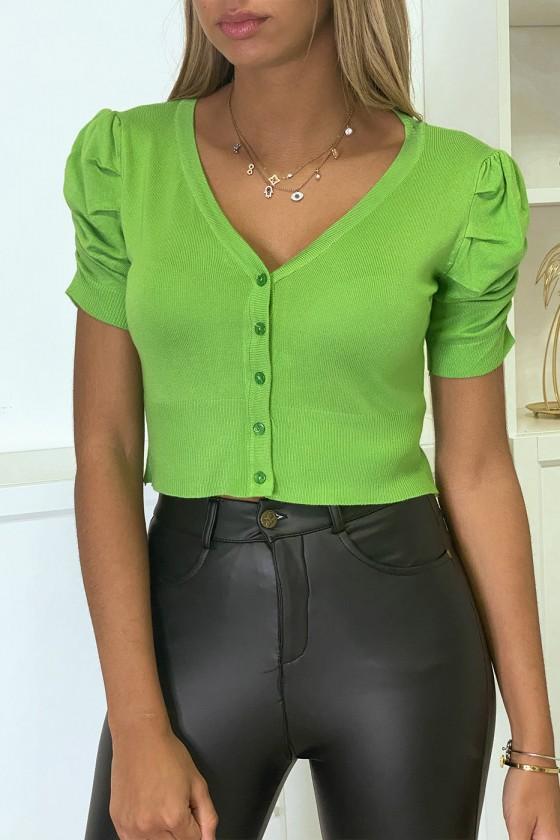 Mini gilet vert manche courte et froncée
