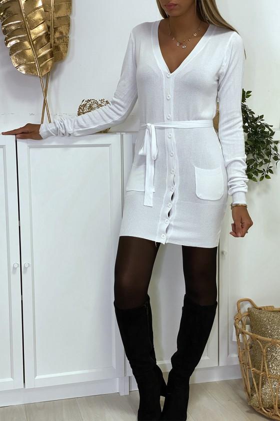 Long gilet blanc en maille tricot très doux et extensible