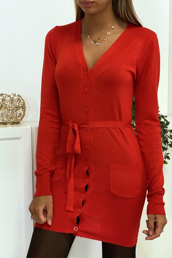 Long gilet rouge en maille tricot très doux et extensible