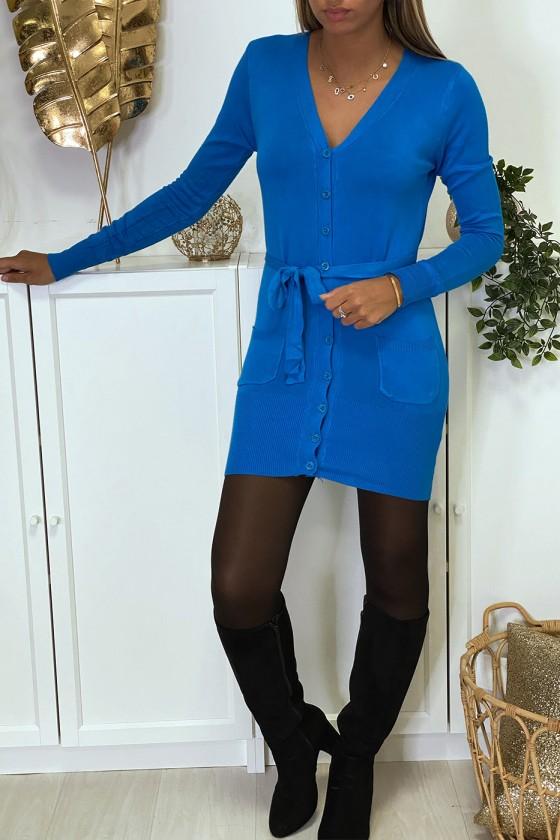 Long gilet indigo en maille tricot très doux et extensible