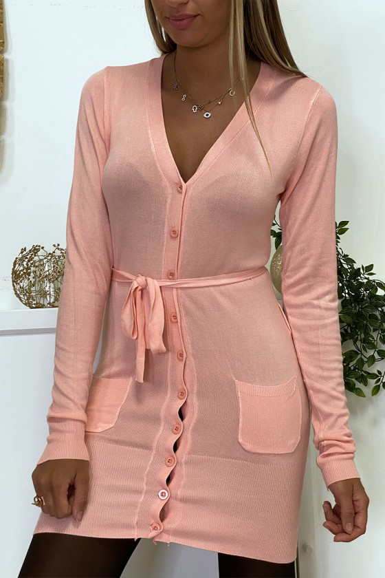 Long gilet rose en maille tricot très doux et extensible