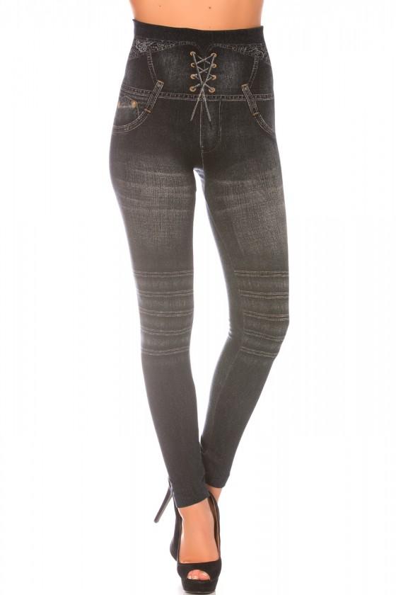Leggings minceur noir style jeans taille haute et effet lien croisé. Effet Push-Up