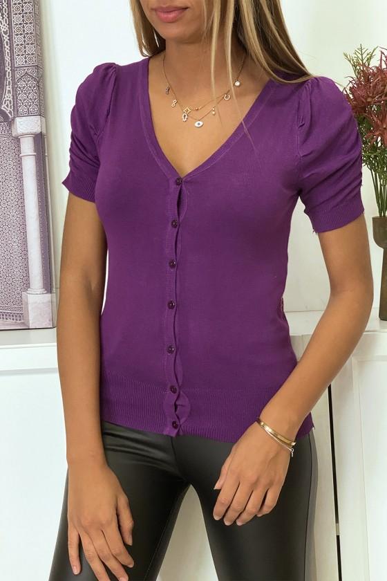 Gilet en maille tricot violet manche bouffante très doux et extensible