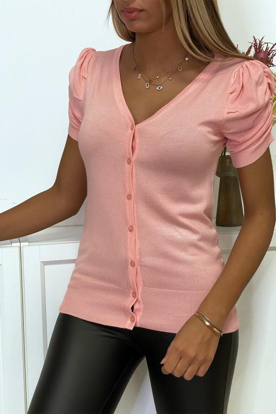 Gilet en maille tricot rose manche bouffante très doux et extensible