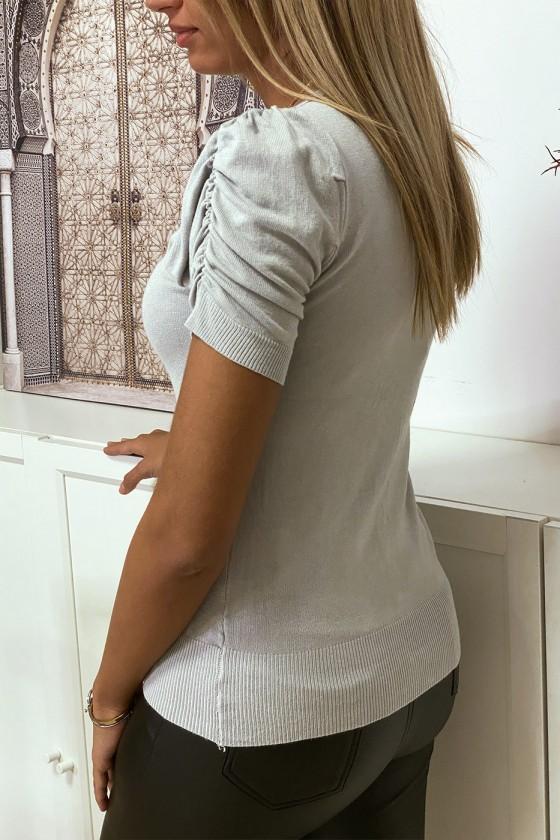 Gilet en maille tricot gris manche bouffante très doux et extensible