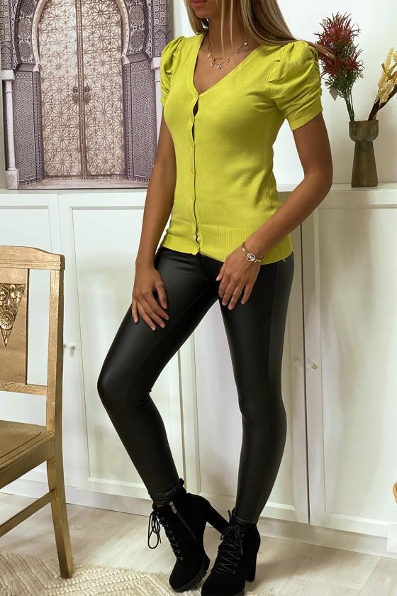 Gilet en maille tricot vert anis manche bouffante très doux et extensible