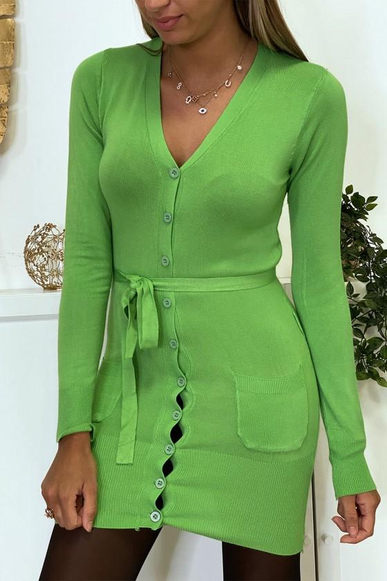 Long gilet vert en maille tricot très doux et extensible