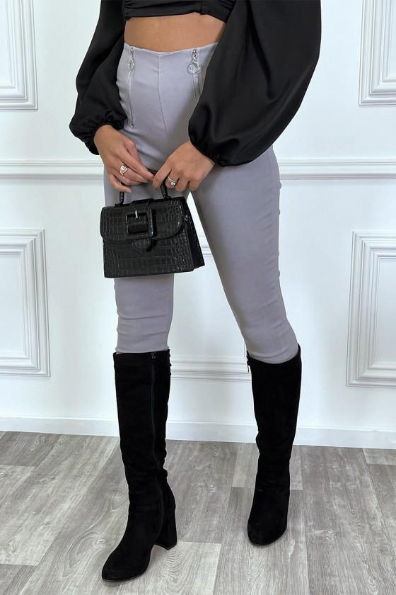 Pantalon slim gris taille haute à zip