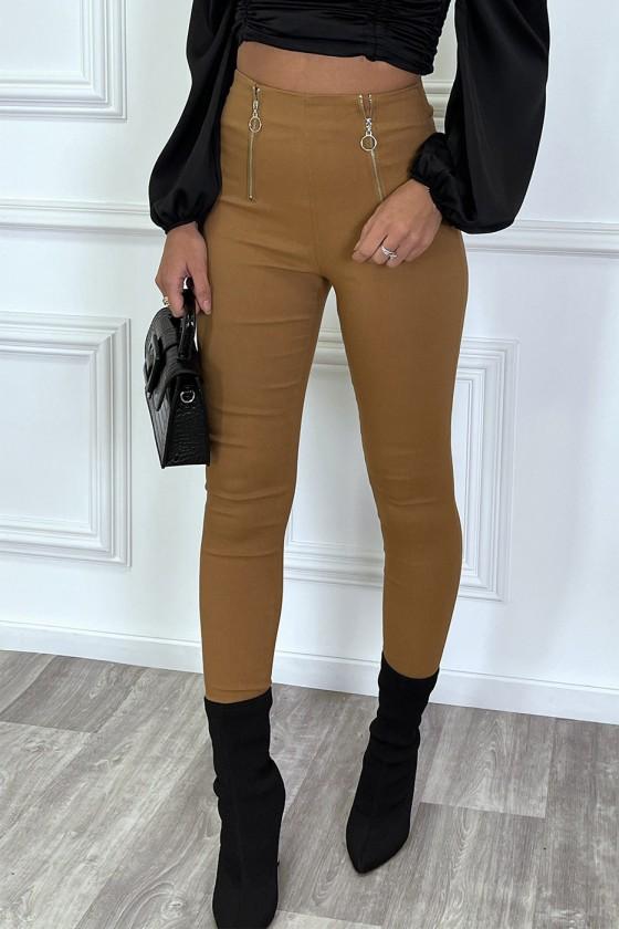 Pantalon slim camel taille haute à zip