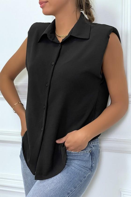 Chemise légère noire sans manches avec épaulettes
