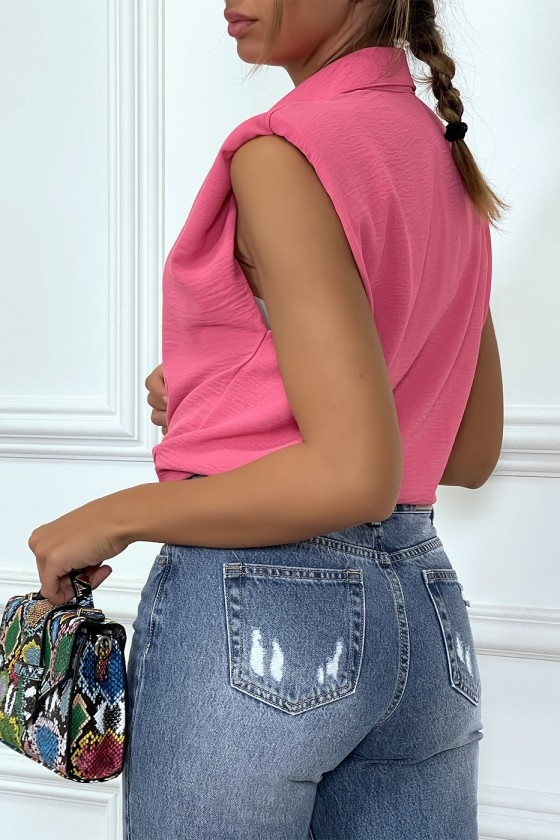 Chemise légère fuchsia sans manches avec épaulettes