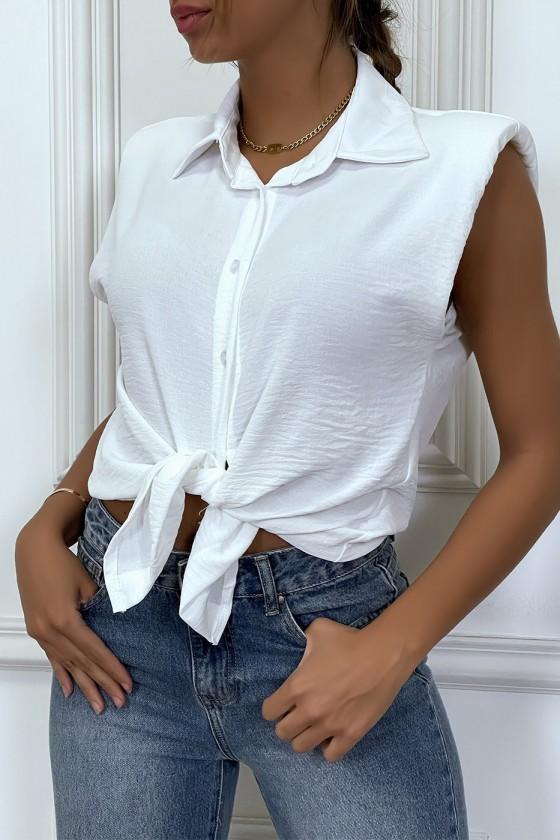 Chemise légère blanche sans manches avec épaulettes