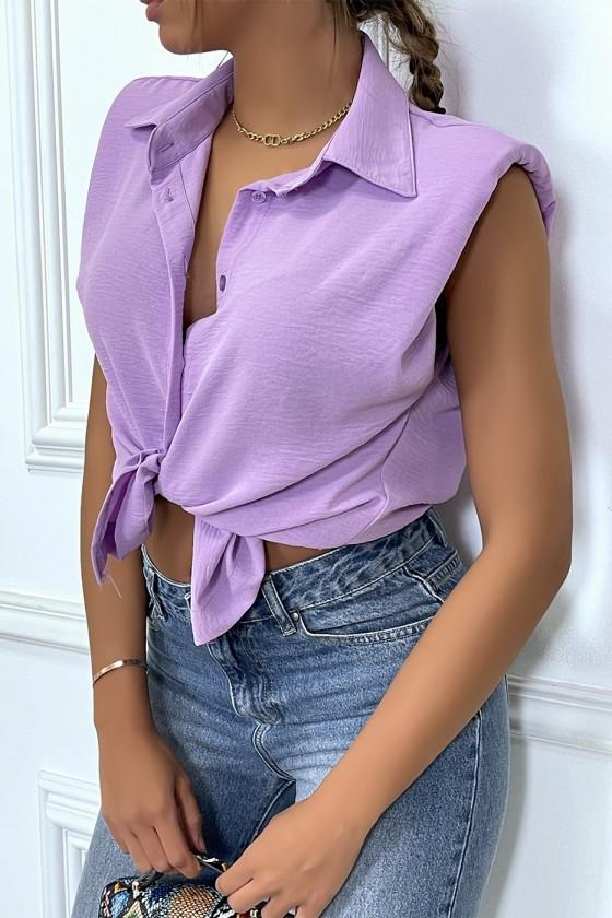 Chemise légère lila sans manches avec épaulettes