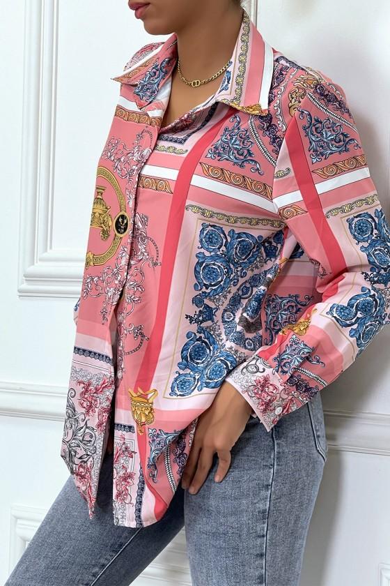 Chemise rose oversize à motif baroque