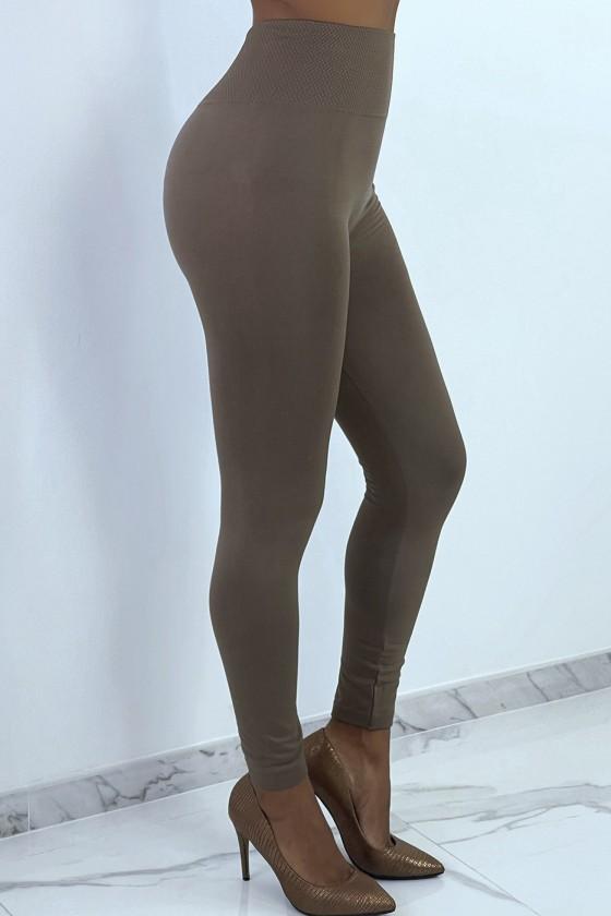 Leggings taupe épais ventre plat taille haute
